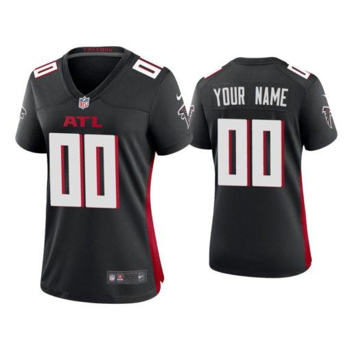 Atlanta Falcons Custom Black Jersey Throwback Game - Women's