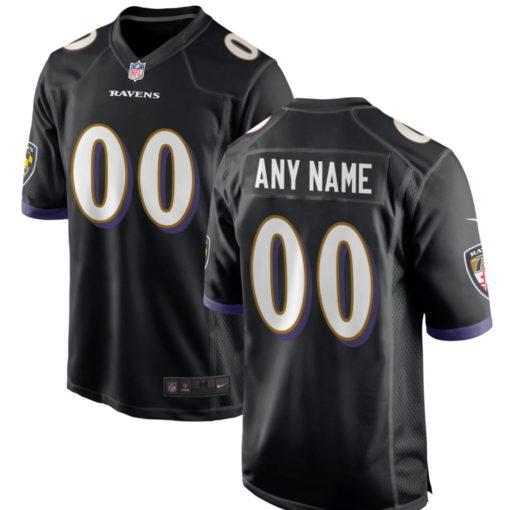 Men's Baltimore Ravens Black Customized Game Jersey