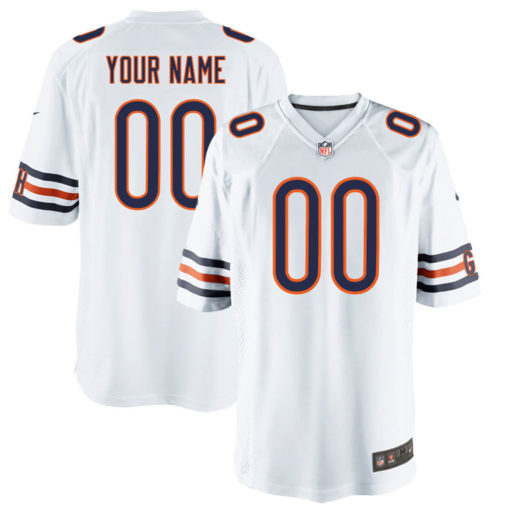 Men's Chicago Bears Customized Game White Jersey
