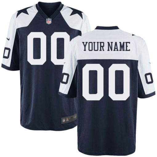 Men's Dallas Cowboys Customized Game Navy White Jersey