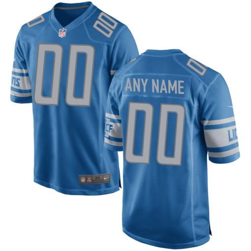 Men's Detroit Lions Blue Custom Game Jersey
