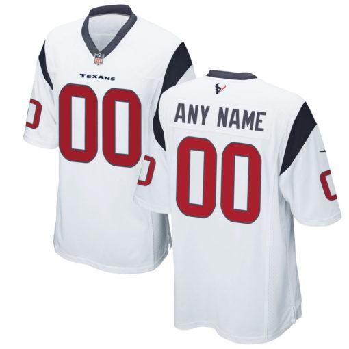 Men's Houston Texans White Custom Game Jersey