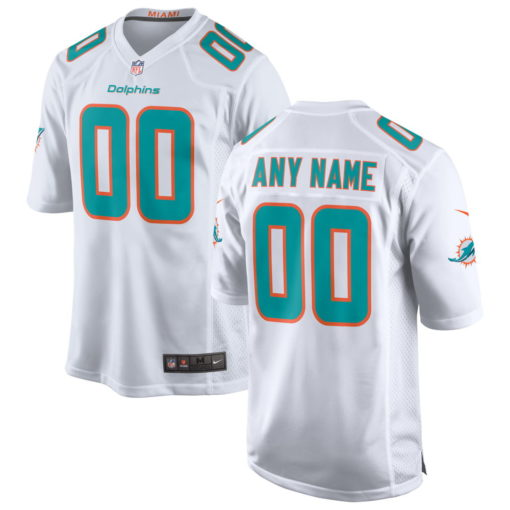 Men's Miami Dolphins White Custom Game Jersey