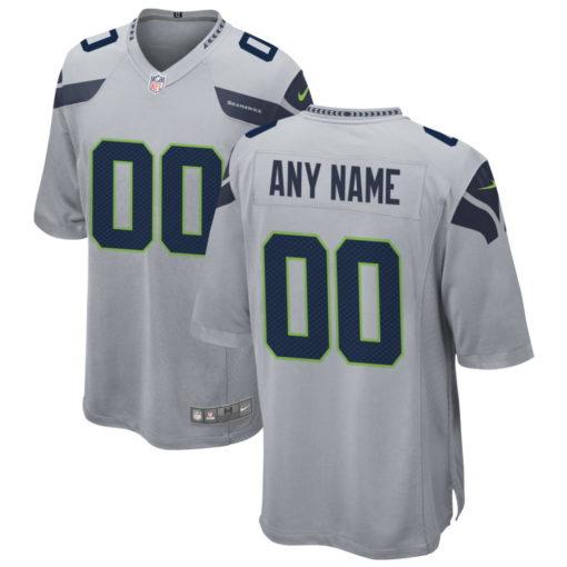 Men's Seattle Seahawks Gray Alternate Custom Game Jersey