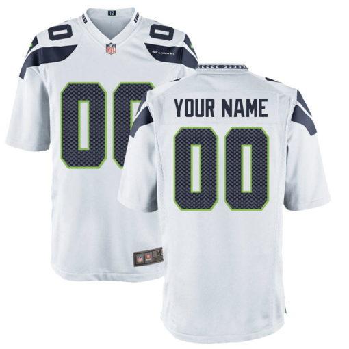 Men's Seattle Seahawks White Alternate Custom Game Jersey