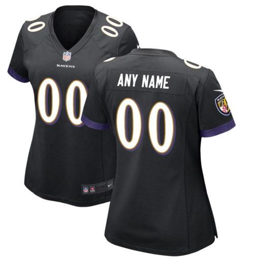 Women's Baltimore Ravens Black Custom Game Jersey