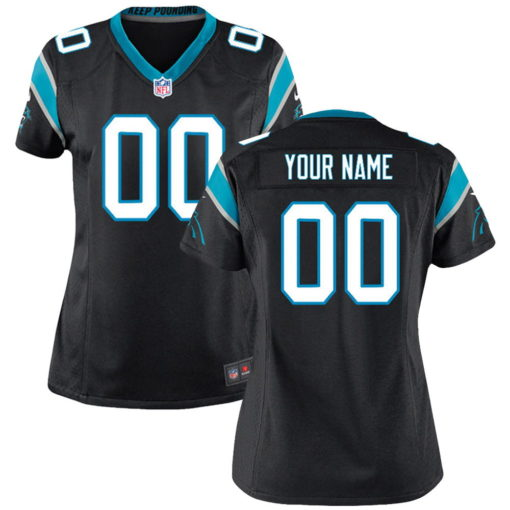 Women's Carolina Panthers Black Customized Game Jersey