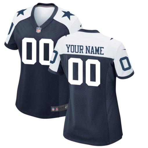 Women's Dallas Cowboys Navy White Customized Jersey