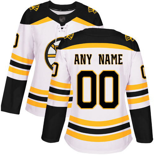 Women's Boston Bruins white Custom Jersey
