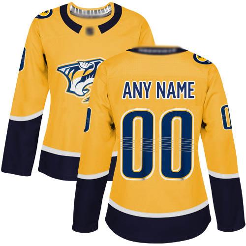 women's Nashville Predators yellow home Breakaway Custom Jersey