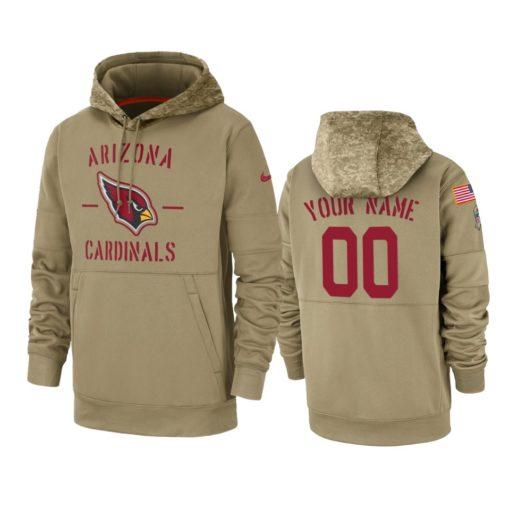Arizona Cardinals Custom Tan 2019 Salute to Service Sideline Therma Pullover Hoodie