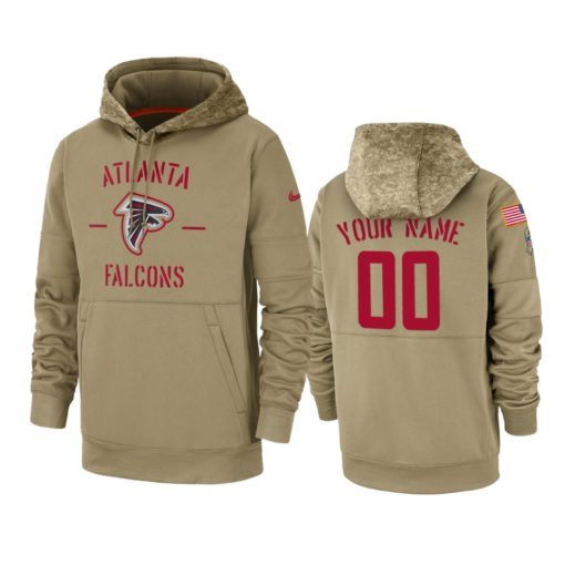 Atlanta Falcons Custom Tan 2019 Salute to Service Sideline Therma Pullover Hoodie