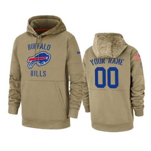 Buffalo Bills Custom Tan 2019 Salute to Service Sideline Therma Pullover Hoodie