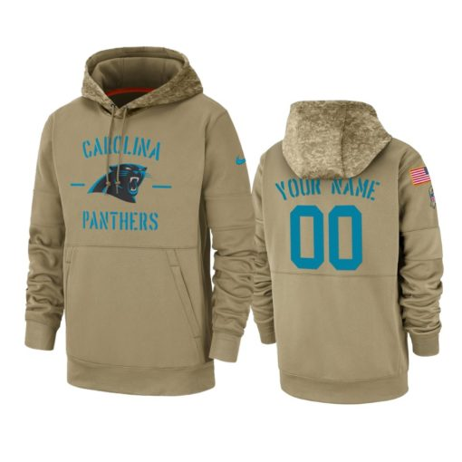 Carolina Panthers Custom Tan 2019 Salute to Service Sideline Therma Pullover Hoodie