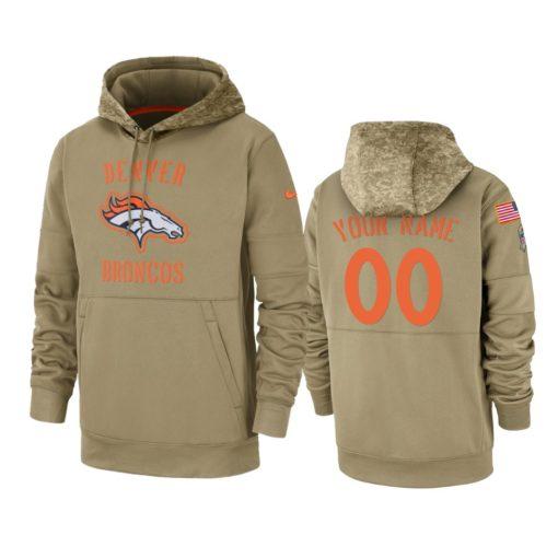 Denver Broncos Custom Tan 2019 Salute to Service Sideline Therma Pullover Hoodie