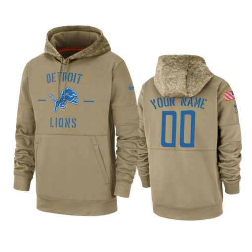 Detroit Lions Custom Tan 2019 Salute to Service Sideline Therma Pullover Hoodie