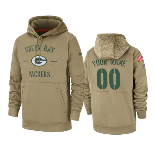 Green Bay Packers Custom Tan 2019 Salute to Service Sideline Therma Pullover Hoodie