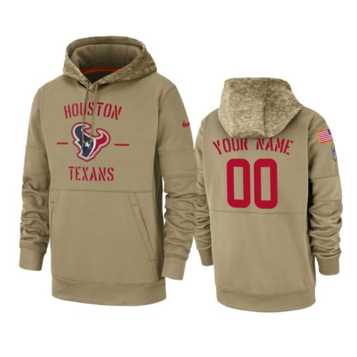Houston Texans Custom Tan 2019 Salute to Service Sideline Therma Pullover Hoodie