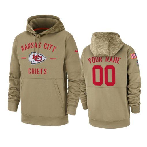 Kansas City Chiefs Custom Tan 2019 Salute to Service Sideline Therma Pullover Hoodie