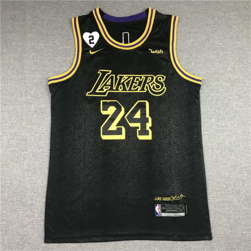 Kobe Bryant #24 Los Angeles Lakers City Edition Black Jersey With Love Path