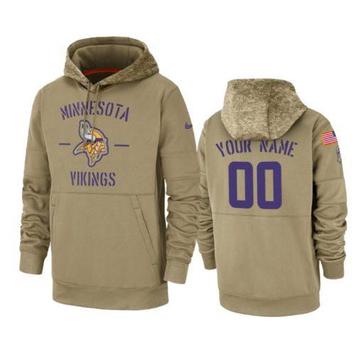 Minnesota Vikings Custom Tan 2019 Salute to Service Sideline Therma Pullover Hoodie