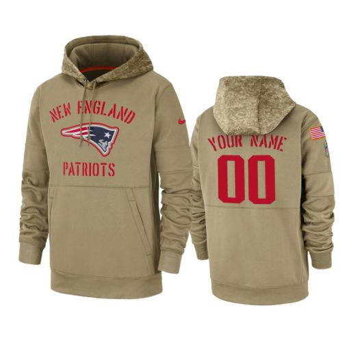 New England Patriots Custom Tan 2019 Salute to Service Sideline Therma Pullover Hoodie