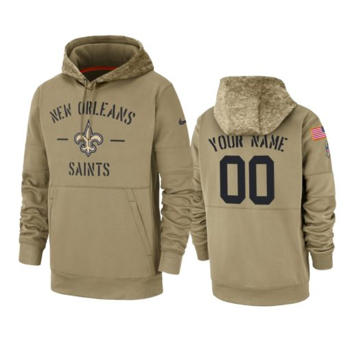 New Orleans Saints Custom Tan 2019 Salute to Service Sideline Therma Pullover Hoodie