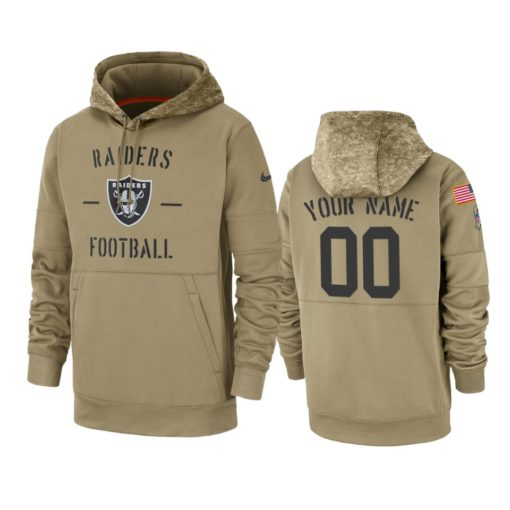 Oakland Raiders Custom Tan 2019 Salute to Service Sideline Therma Pullover Hoodie