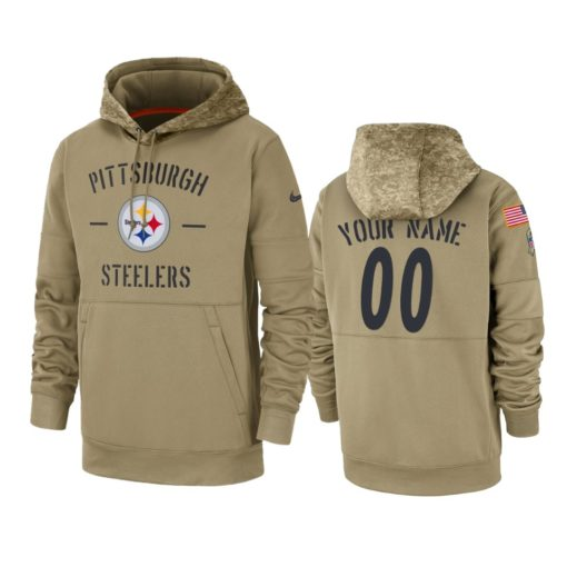 Pittsburgh Steelers Custom Tan 2019 Salute to Service Sideline Therma Pullover Hoodie