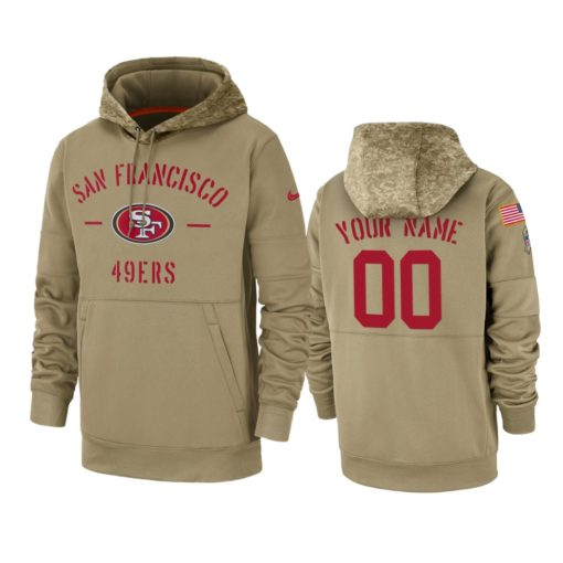 San Francisco 49ers Custom Tan 2019 Salute to Service Sideline Therma Pullover Hoodie