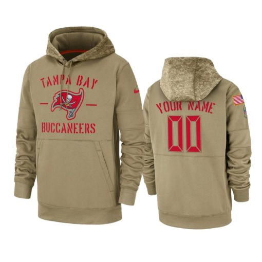 Tampa Bay Buccaneers Custom Tan 2019 Salute to Service Sideline Therma Pullover Hoodie