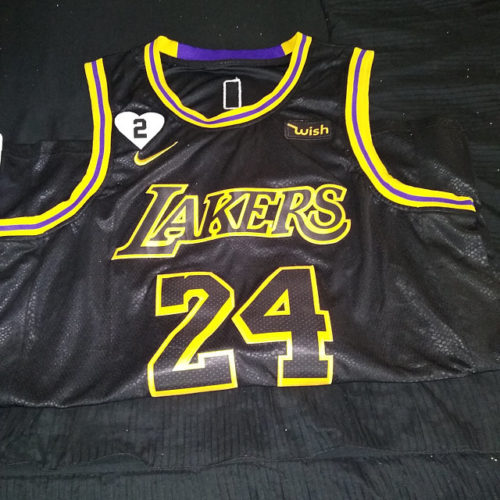 Kobe Bryant #24 Los Angeles Lakers City Edition Black Jersey With Love Path photo review