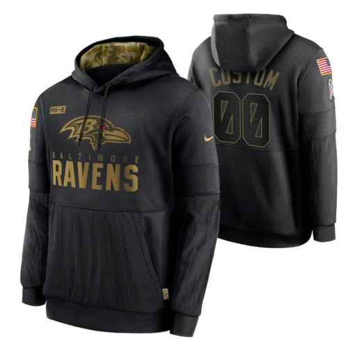Baltimore Ravens Custom Black 2020 Salute To Service Sideline Performance Pullover Hoodie