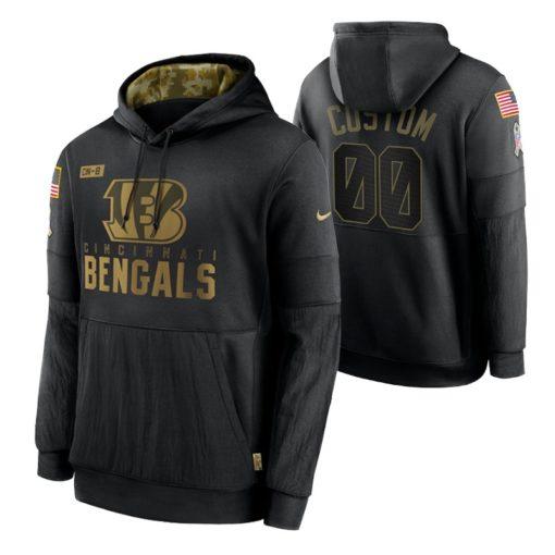 Cincinnati Bengals Custom Black 2020 Salute To Service Sideline Performance Pullover Hoodie
