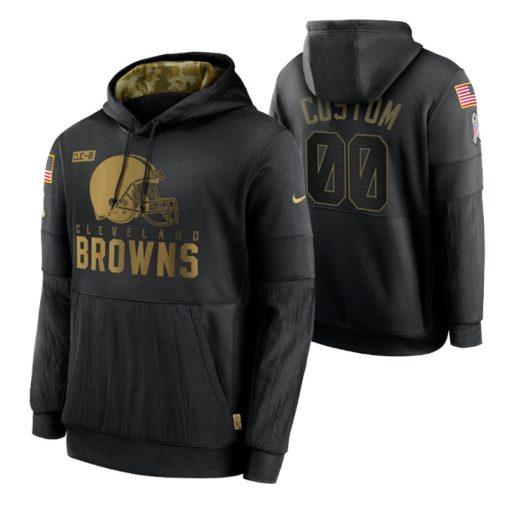 Cleveland Browns Custom Black 2020 Salute To Service Sideline Performance Pullover Hoodie