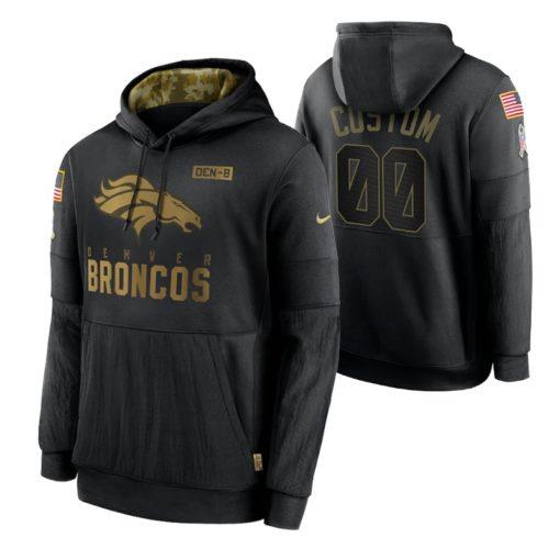 Denver Broncos Custom Black 2020 Salute To Service Sideline Performance Pullover Hoodie