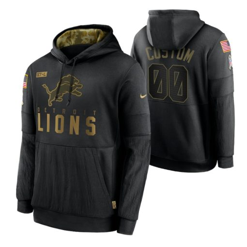 Detroit Lions Custom Black 2020 Salute To Service Sideline Performance Pullover Hoodie