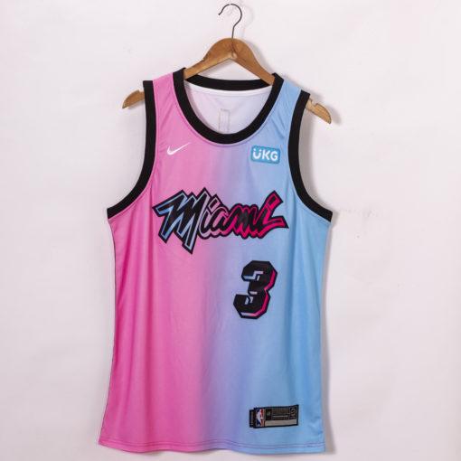 Dwyane Wade Miami Heat 2020-21 Blue Pink Rainbow City Jersey