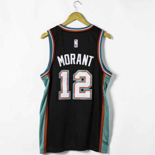 Ja Morant #12 Memphis Grizzlies 20th Season Classic Black 2021 Jersey back