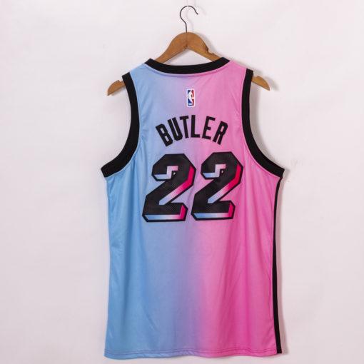 Jimmy Butler Miami Heat 2020-21 Blue Pink Rainbow City Jersey back