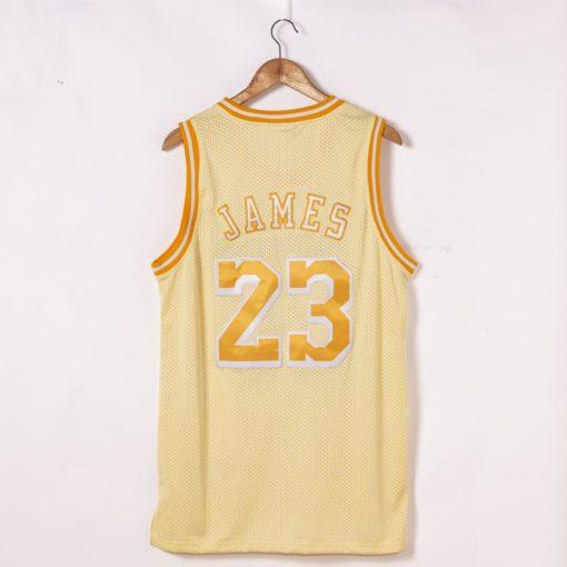 LeBron James Los Angeles Lakers Hardwood Classics Golden Edition Jersey back