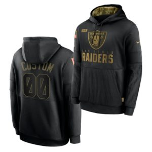 Men's Las Vegas Raiders Black 2020 Salute to Service Sideline Performance Pullover custom Hoodie
