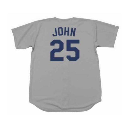 Tommy John #25 Los Angeles Dodgers Gray Away Throwback Baseball Jersey 1