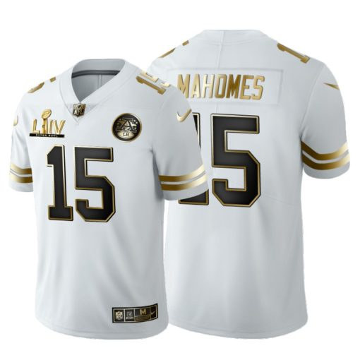 Kansas City Chiefs Patrick Mahomes White Super Bowl LIV Vapor Limited Golden Edition Jersey