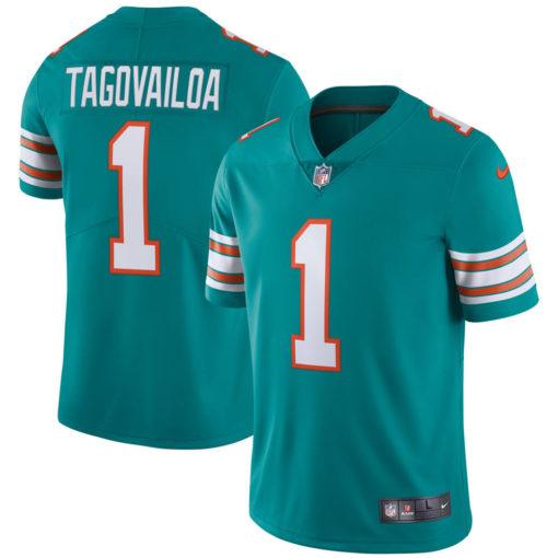 Men's Miami Dolphins Tua Tagovailoa Nike Aqua Alternate Vapor Limited Jersey