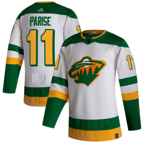 Men's Minnesota Wild Zach Parise adidas White 202021 Reverse Retro Player Jersey