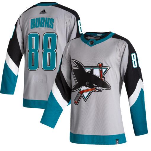 Men's San Jose Sharks Brent Burns adidas Gray 202021 Reverse Retro Player Jersey