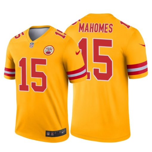 Patrick Mahomes Kansas City Chiefs #15 Gold Jersey Inverted Legend