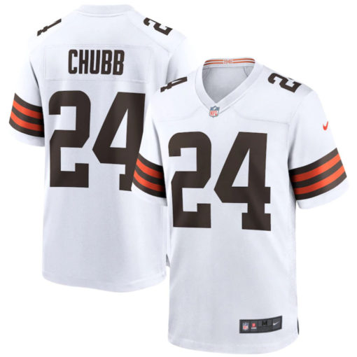 Men's Cleveland Browns Nick Chubb Nike White Game Player Jersey