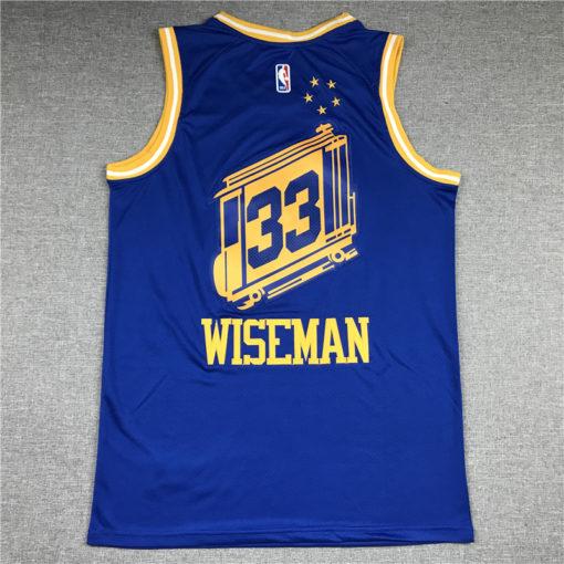 James Wiseman #33 Golden State Warriors 2021 Blue Hardwood Classic Jersey back
